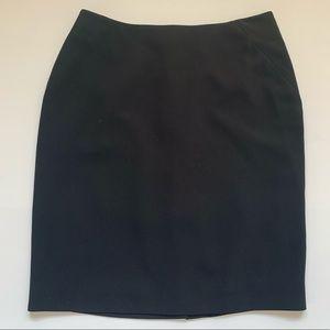 Ann Taylor Petite Linen Black Pencil Skirt